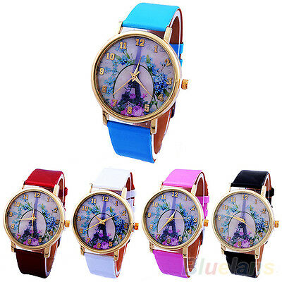Casual Women Sweet Rose Eiffel Tower Faux Leather Analog Quartz Wrist Watch Chic