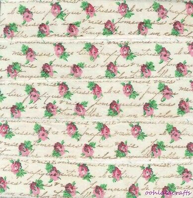 vintage french script pink red sm flowers muslin  c614