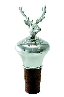 Solid Silver Stag Wine Bottle Stopper / Cork (New)