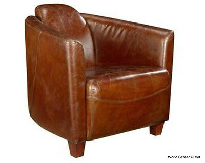 """Set of Two 29"""" W Club Chair Cigar Brown Vintage Top Grain Aged Leather  020001AG"""