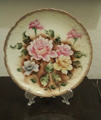 Vintage Norleans Beautiful Hand Painted Roses Plate Signed Y. Takimata