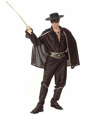 Adult Zorro Costume Bandit Hero Outfit Mens Fancy Dress Halloween Party  D2007B