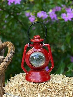 Miniature Dollhouse FAIRY GARDEN Accessories ~ Red Metal Lantern ~ NEW