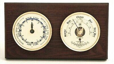 """Weather Stations - """"Cape Cod"""" Tide Clock And Barometer / Thermometer - Mahogany"""