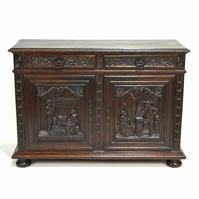 Excellent Antique Carved Chestnut French Brittany Figural Cabinet Buffet