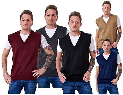 Men's Plain Knitted V Neck Classic Sleeveless Cardigans Tops Jumpers Size S-5XL