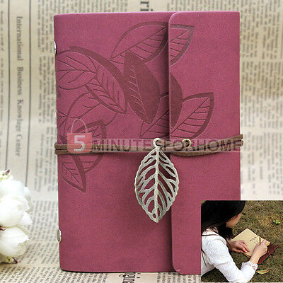 Practical PU Leather Cover Retro Travel Planner Notebook Loose-leaf Wine Red