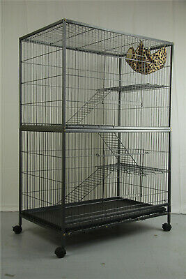 140 cm 4 Levels Bird Parrot Cage Aviary Ferret Cat Budgie Hamster House W Castor