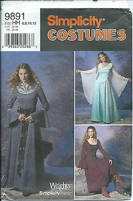 S 9891 sewing pattern LOTR Medieval COSTUME sew GOWN Glam DRESS sizes 6-12 UNCUT
