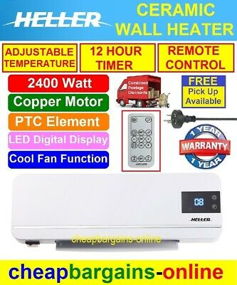 Heller 2000W Electric Ceramic Wall Mount Heater Led Indoor Remote Control Timer