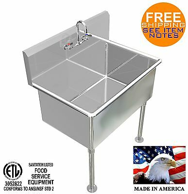 """Hand Washing Sink 36""""x24""""x15""""deep Big Tub Heavy Duty Stainless Steel Made In Usa"""