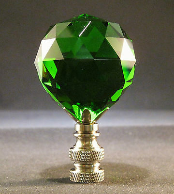 Lamp Finial-Green Leaded Crystal Lamp Finial-Satin Nickel Base