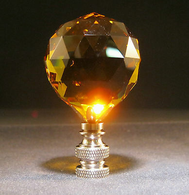 Lamp Finial-Lite Amber Leaded Crystal Lamp Finial-Satin Nickel Base