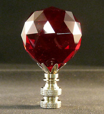 Lamp Finial-Red Leaded Crystal Lamp Finial-Satin Nickel Finish