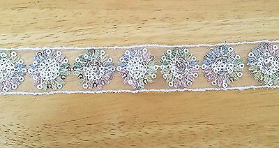 1M x 2.5 CM (approx) wide Shimmer sequin White Flower Lace Trim Sewing Vintage
