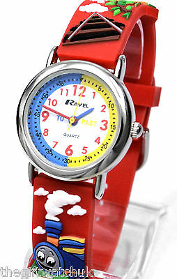 New Ravel Boys Kids Steam Trains Time Teacher Red Watch, 3D Strap, Free UK P&P