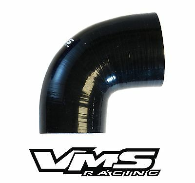 "Vms Racing 3 Ply Reinforced Silicone 90˚ Coupler 4"" Black"