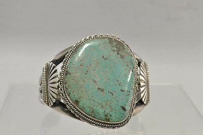 Navajo Indian Sterling Silver Bracelet with Large Turquoise Stone
