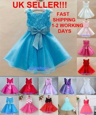 GIRLS Flower Formal Wedding Bridesmaid Party Christening Dress