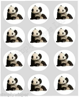 12 Panda Bear Cub Cupcake Decoration Edible Cake Toppers Pre Cut 40mm Chinese