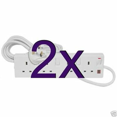 [2 pack] 4 Way Gang Individually Switched UK Mains Extension Lead White 5m [0055