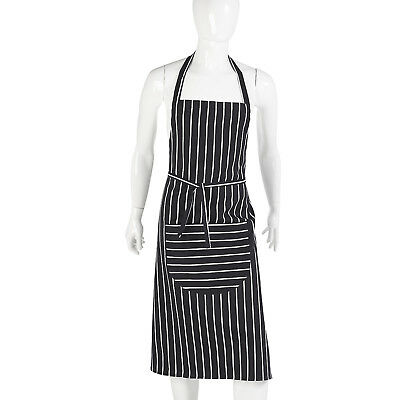 Full Navy Butchers Apron Professional Chefs Waiters Restaurant Cook Cotton Bib