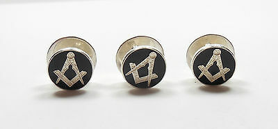 Stamped 925 Sterling Silver ENAMELLED MENS MASONIC COLLAR STUDS 7.9g