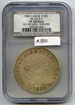 1803 Bust $1 Large 3 (#1800) NCS VF Details Repaired, Whizzed. Good Detail. No E