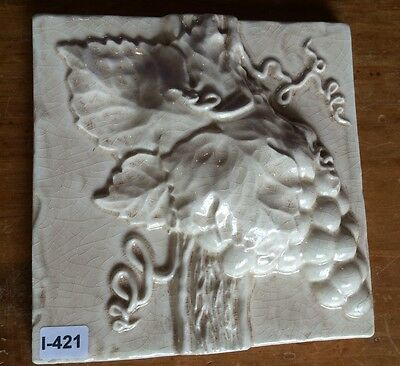 (I-421) Beautiful NIP 3D Decorative Wall Tile Grapes Crackle Antiqued Cream 6x6