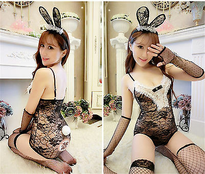 Costume Completino Bunnies Bunny Nera Lace Ultra Sexy Cosplay Con Calze A Rete