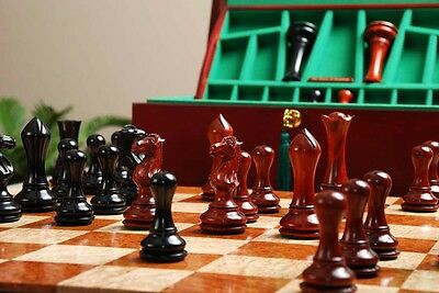 """The Empire Prestige Chess Set - Pieces Only - 4.4"""" King - Genuine Ebony & Blood"""