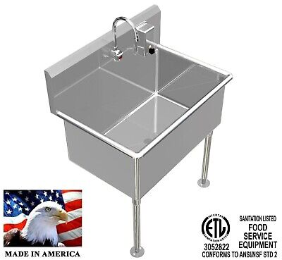 """Wash Up Hand Sink 36""""x24""""x15""""deep Big Tub Heavy Duty Stainless Steel Elec Faucet"""