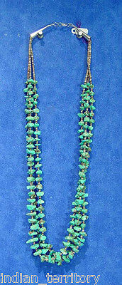 Santo Domingo Indian Three Strand Turquoise and Heishi Necklace c.1970