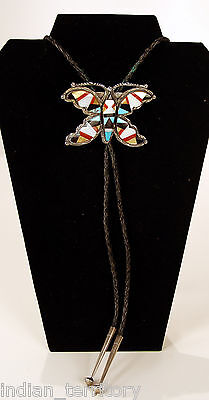 Zuni Indian Silver Bolo Tie with Inlaid Multistone Butterfly