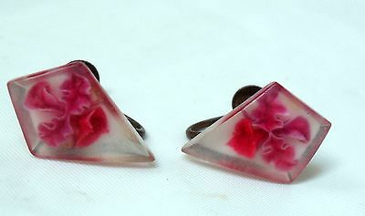 Vintage Clear Lucite Shield Copper Screwback Earrings Imbedded w Pink