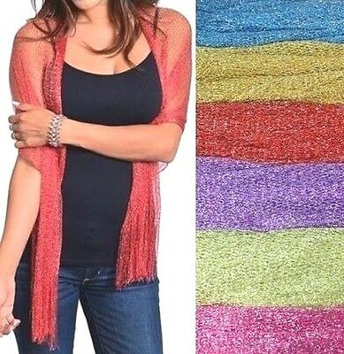 Metallic Scarf Wrap Blue Yellow Red Purple Green Pink