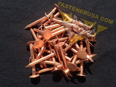 """50 pcs 2/"""" Smooth Plain Shank Solid Copper Roofing Nails 10 gauge"""