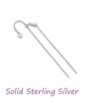 .925 Sterling Silver ADJUSTABLE BOX Chain / Bracelet  with lobster clasp & Heart