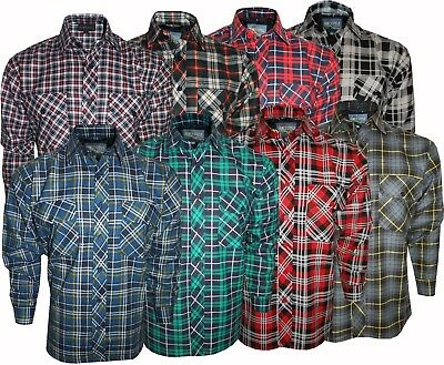 Men's Flannel Lumberjack Check 100% Cotton Casual Work Shirts UK Size M to XXXL