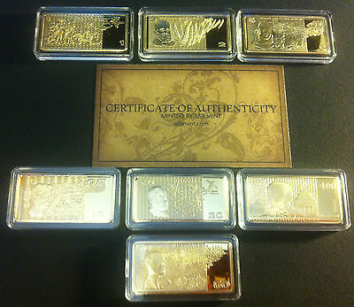 """7 x 10g C.O.A Ingots """"OLD AUSTRALIAN NOTE SERIES"""" Finished in 999 24k Gold"""