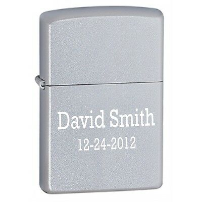 Satin Chrome Zippo Lighter - Free Engraving