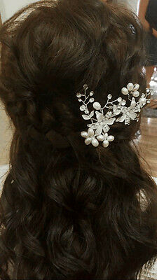Charming Pearls Rhinestones Bridal Wedding Hairpiece with Flowers Side Comb