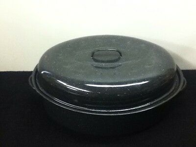 Vintage Black & White Speckled Granite Roaster With Lid & Handles 16x12x4.5""