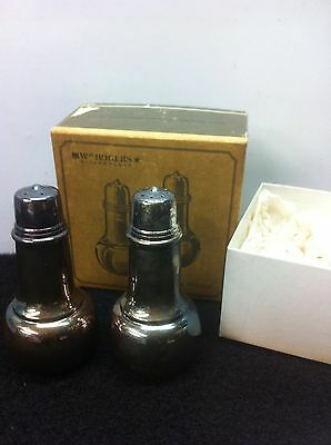 1950's WM Rogers Silverplate Salt & Pepper Shakers No. 964 With Original Box