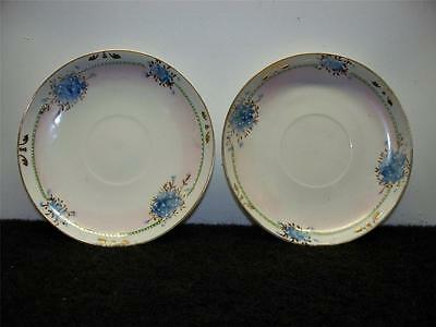 Lot of 2 Vintage Nippon Hand Painted China Saucers