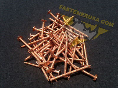 "2 1/2"" Annular Ring Shank Solid Copper Roofing Nails 10 gauge (50 pcs)"