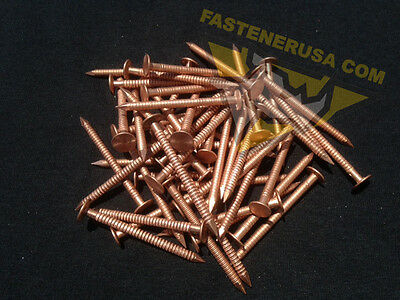 "2"" Annular Ring Shank Solid Copper Roofing Nails 10 gauge (50 pcs)"