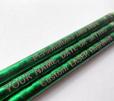 24 - Custom PERSONALIZED Regular Pencils - Green GLITZ