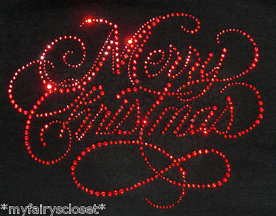 """9"""" x 7"""" red Merry Christmas rhinestone BLING iron on transfer for T-shirt"""