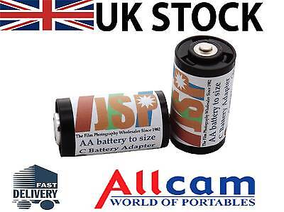 2 pieces AA battery to size C Battery Adapters, JSP brand, New
